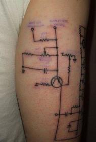 黑色线条电路图纹身图案