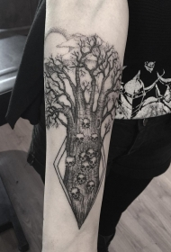 手臂点刺风格黑色神秘树与骷髅纹身图案