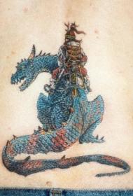 龙和日本武士纹身图案