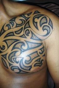 胸部黑色线条部落图腾纹身图案