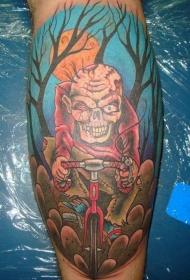 小腿卡通僵尸骑自行车彩色纹身图案