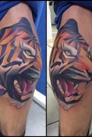 小腿彩色邪恶的卡通老虎纹身图案