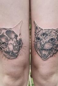 大腿可怕的黑色猫头骨与三眼猫纹身图案