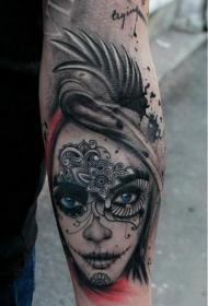 手臂蓝眼睛的死亡女孩new school纹身图案