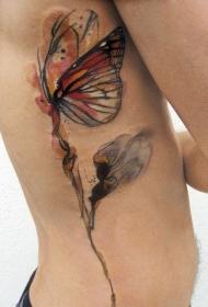 侧肋水墨画蝴蝶与花蕊纹身图案
