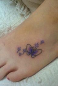 紫色可爱蝴蝶脚背纹身图案