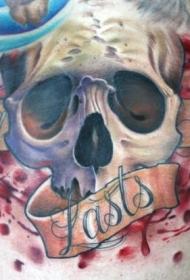 胸部插画风格彩色骷髅字母纹身图案