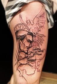 素描风格大腿黑色字母和鸽子男人脸纹身图案