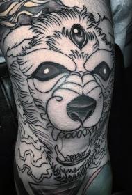 黑色线条恶魔三眼狗腿部纹身图案