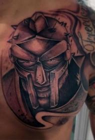 胸部梦幻般的黑色战士肖像纹身图案
