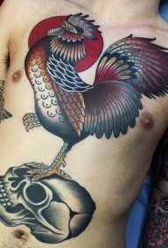 彩色公鸡跳舞和骷髅腹部纹身图案