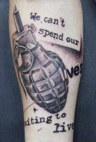 小臂黑白军用手榴弹结合字母纹身图案