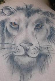 黑灰狮子脸部纹身图案