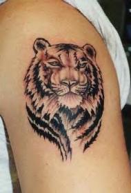 黑灰老虎头像纹身图案