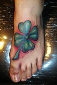 脚背爱尔兰四叶草纹身图案
