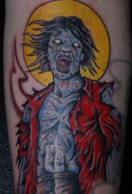蓝色的僵尸月亮纹身图案