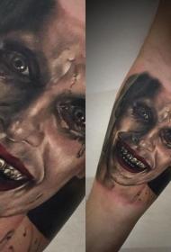 小臂可怕怪物脸彩绘纹身图案