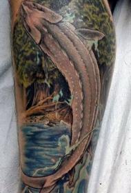 腿部华丽逼真的跳跃鱼纹身图案