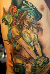 腰侧彩色海盗性感女孩和鹦鹉纹身