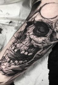手臂黑色人类头骨雕刻风格纹身图案