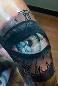 彩色女人眼睛与时钟纹身图案