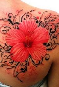 肩部彩色逼真的热带木槿花纹身图片