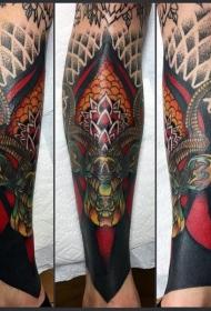 腿部梵花与鹿头纹身图案