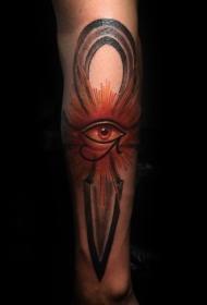 彩色神秘剑与荷鲁斯之眼纹身图案