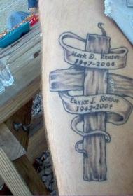 木制十字架纪念纹身图案