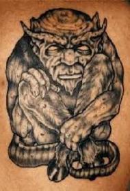 年迈的狼恶魔纹身图案