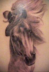 腹部棕色逼真的马头纹身图案
