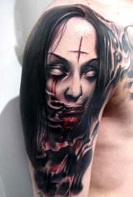 彩色恐怖风格令人毛骨悚然女僵尸纹身图案