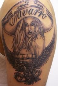 鹰和宽边帽的女孩纹身图案
