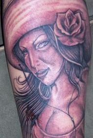 腿部性感逼真的墨西哥女孩纹身