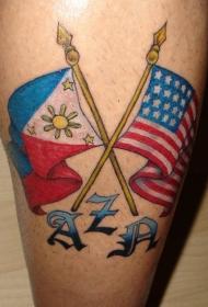 两国旗帜彩色纹身图案