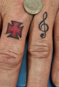 手指十字架和音符纹身图案