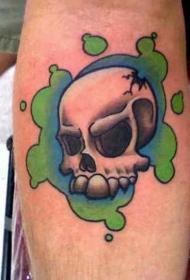 冒着绿烟的骷髅纹身图案