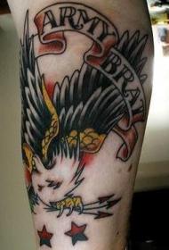 old school老鹰和字母纹身图案