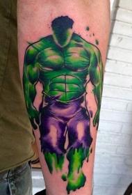 手臂水彩画风格的神秘绿巨人纹身图案
