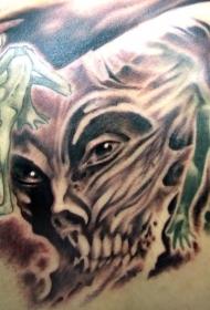 绿色手掌的恶魔纹身图案