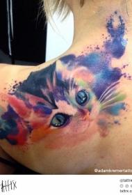 女生肩部可爱的水彩画风格小猫纹身图案