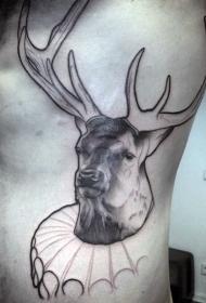 侧肋彩色滑稽鹿纹身图案