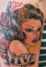 腿部彩色传统风格的女孩和英文纹身