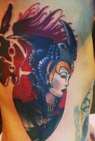 侧肋彩色女战士纹身图案
