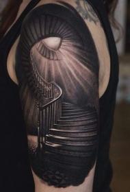 肩部逼真的神秘楼梯纹身图案