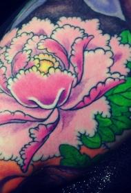 手臂彩色有趣的牡丹花纹身图案