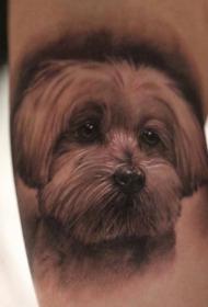 可爱逼真的狗肖像纹身图案