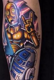 手臂原创漫画风格的彩色机器人纹身图案