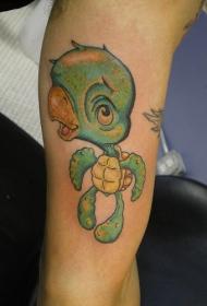 手臂卡通有趣的小乌龟大脑袋纹身