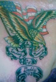 美国国旗与金色鹰纹身图案